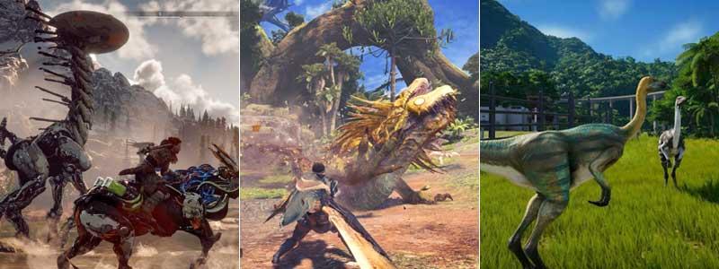 Horizon Zero Dawn, Monster Hunter World y Jurassic Park Evolution como los últimos juegos de dinosaurios