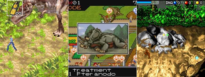 Los tres juegos de Jurassic Park III de GBA