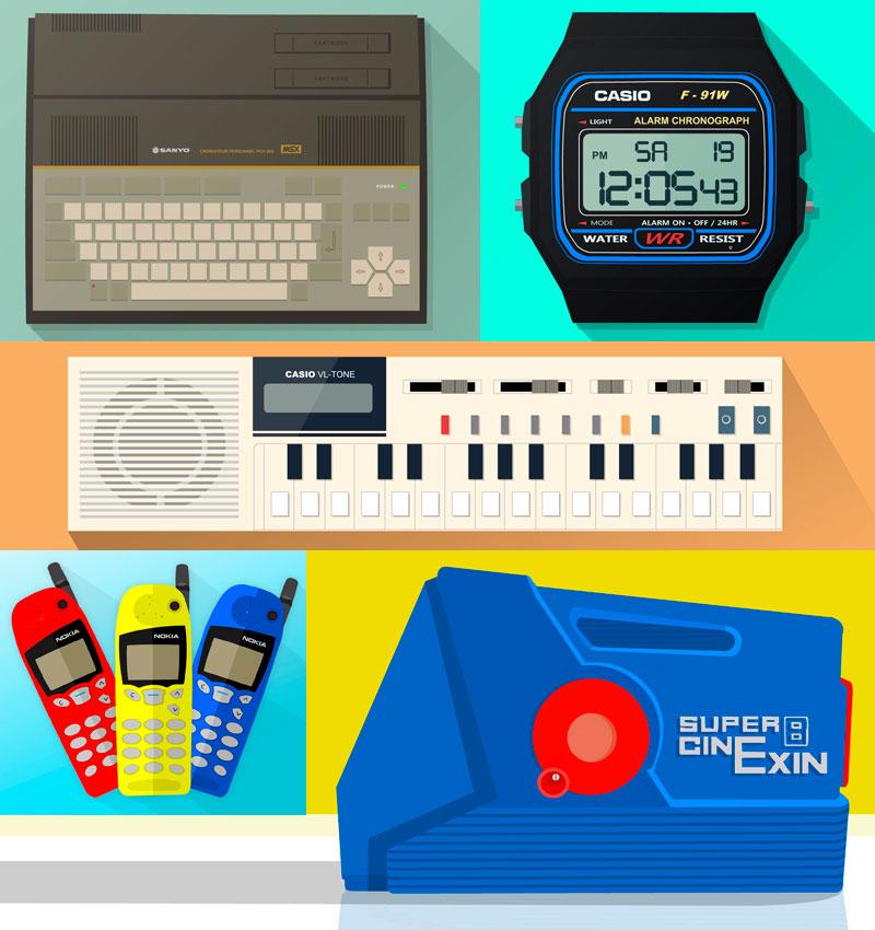 Ilustración plana de productos tecnológicos retro