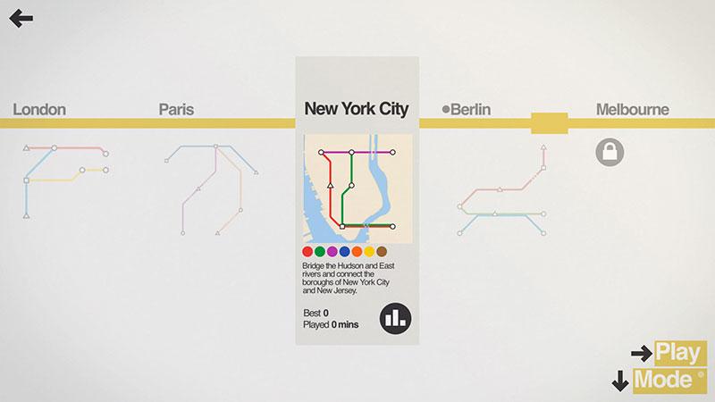 Menú, sonido, música, elementos y mecánicas minimalistas con Mini Metro
