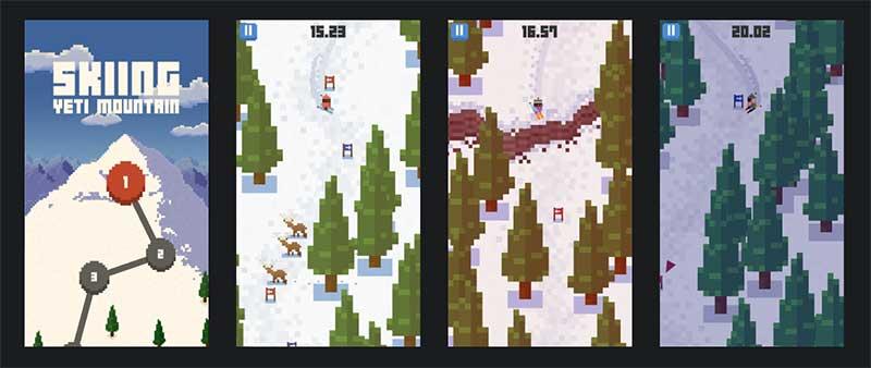 Skiing Yeti Mountain es una delicia jugable gracias a su impredecibilidad y el derrape