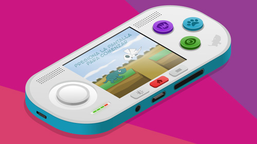 Handheld game console invented in isometric view
