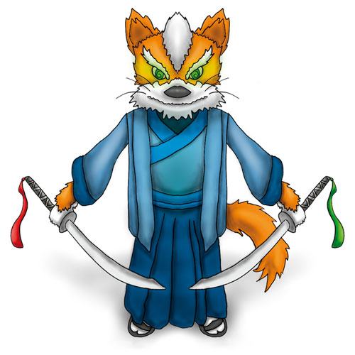 Character design of a fox samurai