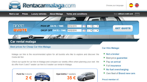 Web design of a rent a car company at Malaga airport