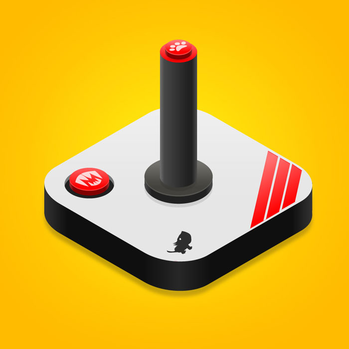 Isometric illustration of a Joystick invented retro style