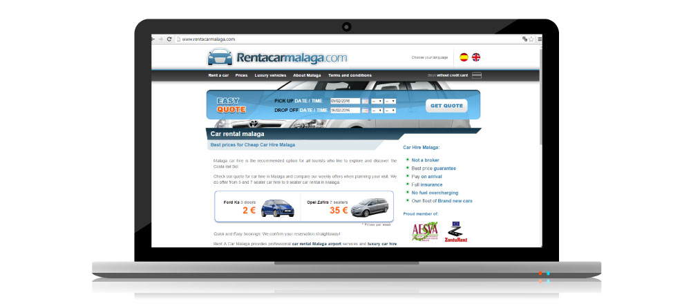 Captura de la web Rent a Car